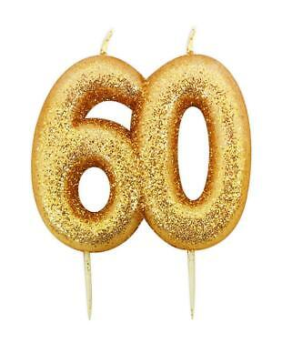Gold Glitter Numeral Moulded Cake Candle - No 60