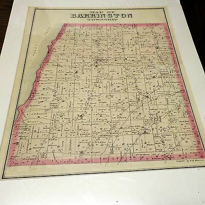 Original 1876 Map Town Of Barrington  Ny Yates Co