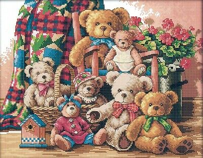 Teddy Bear Family (2) 14CT counted cross stitch kit, 46cm x 37cm fabric. CSK0402