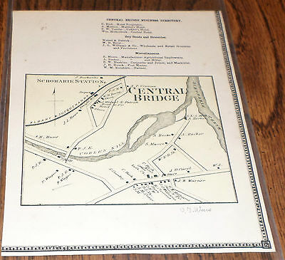 Original 1866 Map Hamlet Of Central Bridge Ny Schoharie County