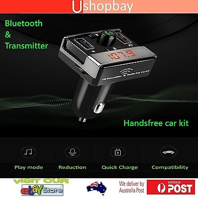 Bluetooth Wireless FM Transmitter Car Charger Kit Handsfree TF Dual USB Ports