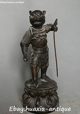 """9""""Old Chinese Ancient Bronze 12 Zodiac Year Tiger Tigers Animal Hold Faqi Statue"""