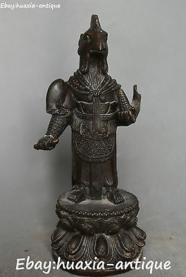 """9""""Old China Ancient Bronze 12 Zodiac Year Chicken Rooster Animal War Robe Statue"""