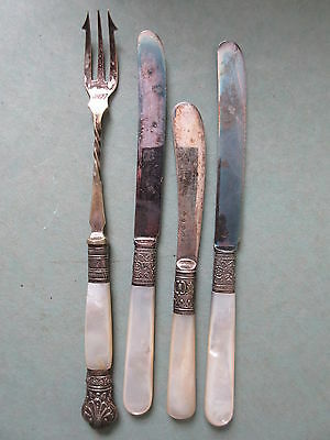4 Antique Silverplate Knives and Pickle Fork Mother of Pearl Handles