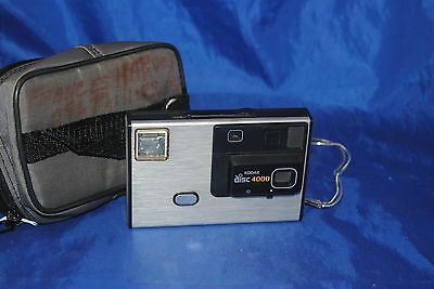 Vintage 80's Kodak disc 4000 camera, wrist strap and soft case.