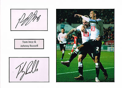 Tom INCE & Johnny RUSSELL SIGNED Autograph 16x12 Mounted Card AFTAL COA Derby