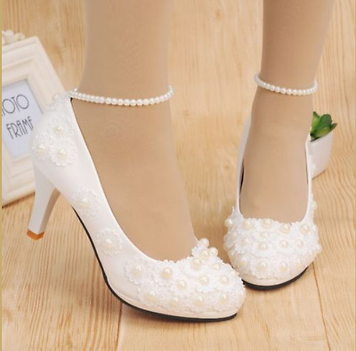 hot White Lace Formal Bridesmaid Wedding Shoes Bridal Low / High Heels Shoes