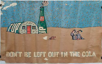 """1971, 60""""x36"""" (1 of only 7) 7Up UnCola Milton Glaser poster """"Don't Be Left Out.."""