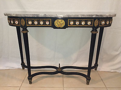 """41.5"""" Gorgeous French Demilune Console Marble Top Fluted Bronze Porcelain 1960's"""