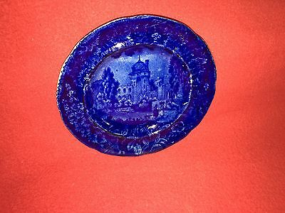 Historical Staffordshire Dark Blue French View By Wood Ca. 1825