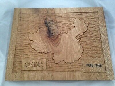 New Handcarved map of China in oak