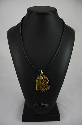 Bearded Collie, gold covered necklace, high qauality Art Dog CA