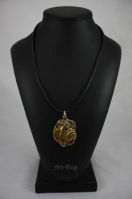 Shar Pei, gold covered necklace, high qauality Art Dog CA