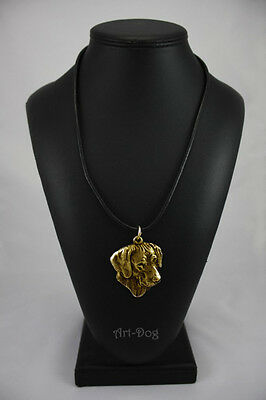 Rhodesian Ridgeback, gold covered necklace, high qauality Art Dog CA