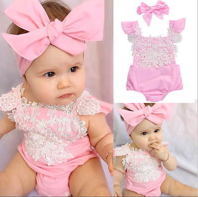 Newborn Baby Girl Toddler Floral 2pcs Romper Jumpsuit + Headband 9-12 months