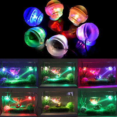 Aquarium Fish Tank Amphibious Submersible Mini LED Spotlight Lamp Light Colorful