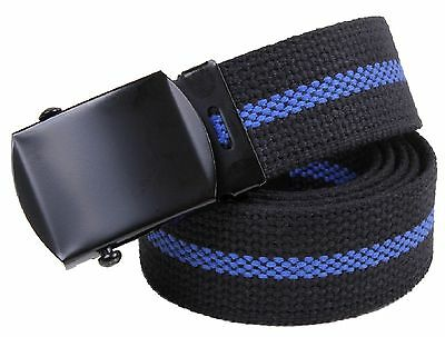 The Thin Blue Line Belt - 100% Cotton Rothco Black TBL Law Support Belts