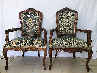 Gorgeous Similar Pair Antique French Walnut Chairs Ornate Carved Wood Flowers