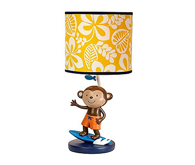 Carter's Laguna Collection Lamp and Shade - Surfing Monkey