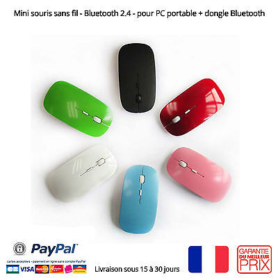 Mini souris sans fil  - Bluetooth 2.4 - pour PC portable + dongle Bluetooth