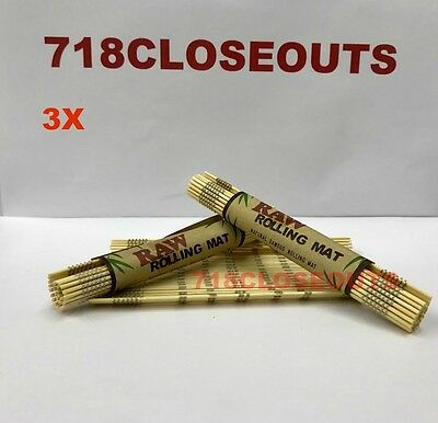 """3 rolls (4.75""""x 3.25"""") AUTHENTIC Raw All Natural Bamboo Cigarette Rolling Mats"""