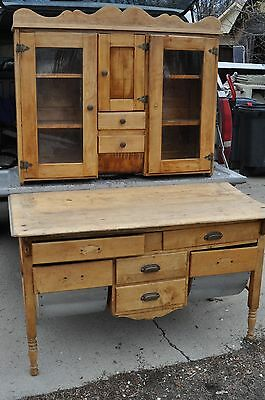 Antique 1880's Primitive Oak Possum Belly Dough Bread Bakers Table & Hutch