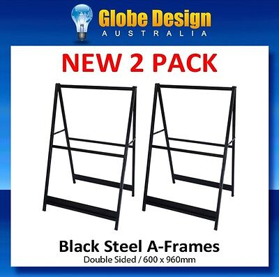 2 PACK A-Frame sign/ Sandwich board/Aframe - Black steel 600x960mm - No inserts