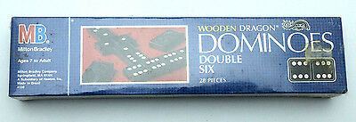 Vintage 1983 Milton Bradley Wooden Dragon Dominoes Double Six 28 Pieces SMPK0067