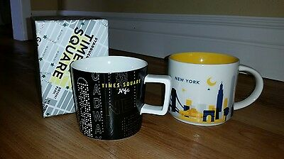 lot of 2 Starbucks coffee cup mugs 14 oz New York Time Square