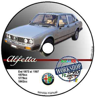Manuale Officina Alfa Romeo Alfetta Workshop Manual Service Cd Dvd Software