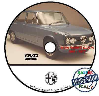 Manuale Officina Alfa Romeo Giulia 1961 1977 Workshop Manual Service Cd Dvd