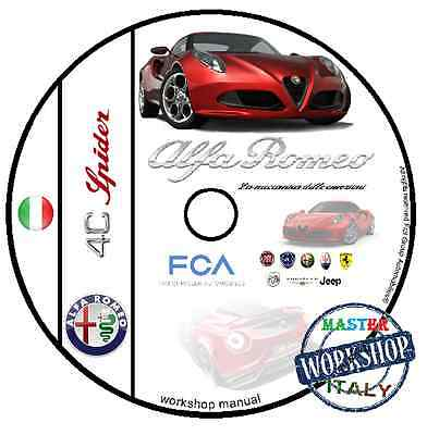 Manuale Officina Alfa Romeo 4C Spider Workshop Manual Service Dvd Cd