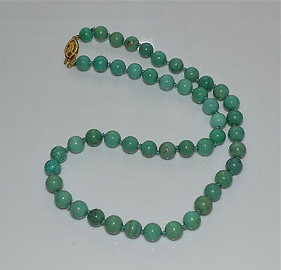 Old or Antique Chinese Turquoise Bead Necklace Gilt Silver Clasp