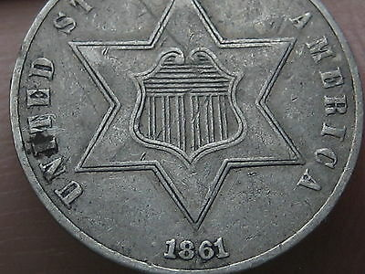 1861 Three 3 Cent Silver Coin -XF Details- 180 Degree Rotated Reverse Mint Error
