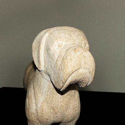 Stunning Sandstone Animal Carving Standing Boxer Grumpy Dog Figurine Statue