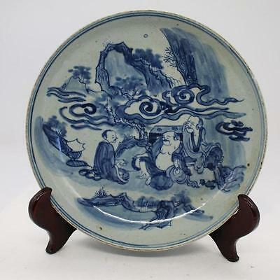 Chinese Old Blue And White Arhats Pattern Porcelain Plate