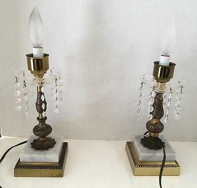 "Two (2) VTG Brass Candelabra Bobeches Crystal Marble Base 11 1/2"" Table Lamp"