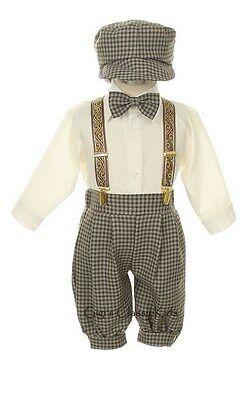 New Baby Toddler Boys Brown Knickers Vintage Suit Set Outfit Easter Christmas Kh