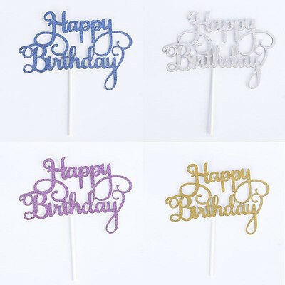 New Glitter Mini Happy Birthday Cake Pick Topper Cake Card Paper Decoration