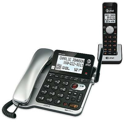 AT&T CL84102 DECT 6.0 Expandable Corded/Cordless Phone with Answering System ...