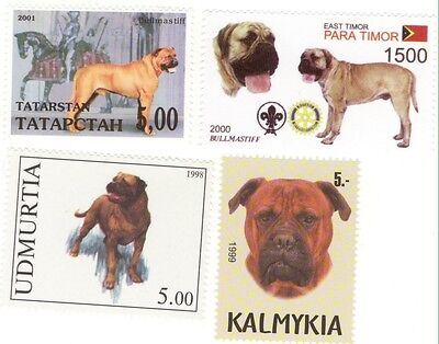 BULLMASTIFF * 4 International Postage Stamps *Great Gift*