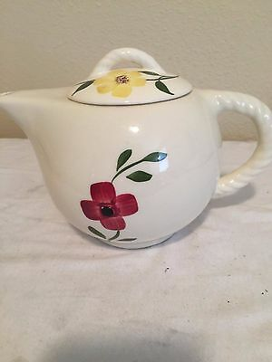 Blue Ridge Rope HandlelTeapot In the Red & Yelow Flowers Pattern