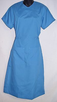 NEW Womens Landau Cotton Blend Solid Back Snap Scrub Dress sz XS - Royal Blue