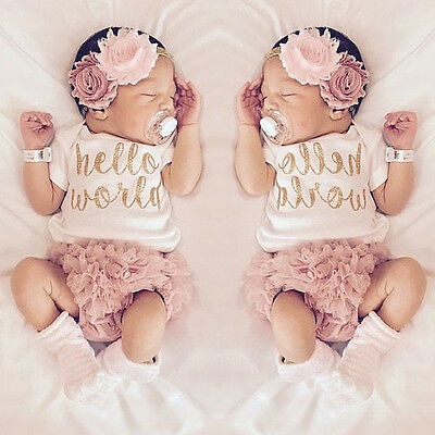 2pcs Baby Girl Kids Clothes Newborn Tops Romper+Shorts Tutu Dress Outfit Sets
