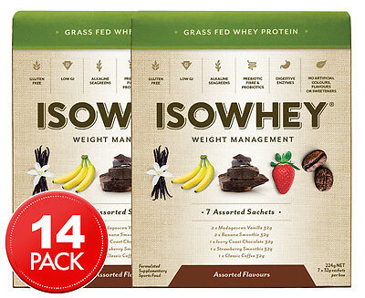 2 x IsoWhey Weight Management Protein Sachets Assorted Flavours 7pk