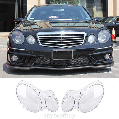 For Benz W211 2002-2008 LH+RH Front Headlights Lamp Cover Lens Kit Transparent