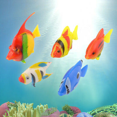 5 Pcs Floating Swing Tail Colorful Plastic Tropical Fish Decorating