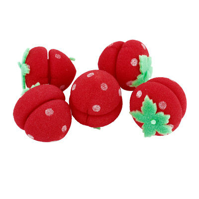 Woman DIY Red Strawberry Sponge Hair Styling Curler Roller Ball 5 Pcs