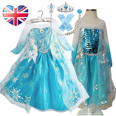 Girls Froze Queen Anna Elsa Princess Cosplay Costume Party Fancy Dress