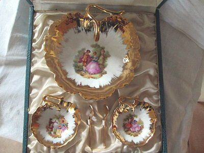 Set Condiments Porcelaine Limoges Scene Galante Or  Butter Cup Limoges Porcelain